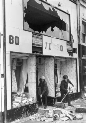 Riots : Belfast. August 1969.  Workmen clear up the wreakage after the week-end of riots on the Shankill Road.  (4/8/69)
