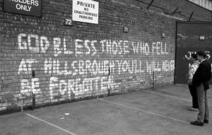 A message written on a wall remebering the Hillsborough disaster victims