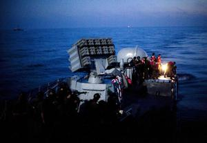 Israeli Navy soldiers prepare to approach and board as they intercept several boats headed towards the Gaza Strip