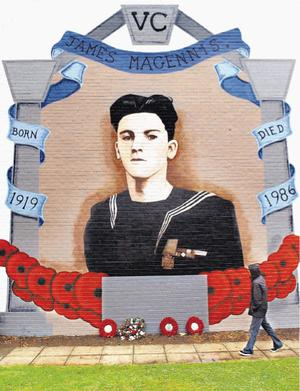 Mural in east Belfast for Jame Magennis VC
