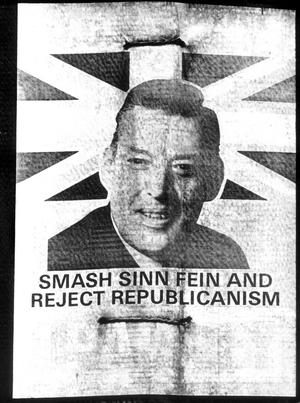 REVEREND IAN PAISLEY MP.DUP leader Reverend Ian Paisley features on a DUP campaign to 'Smash Sinn Fein and Reject Republicanism'.