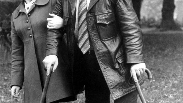 Pictured is Jimmy Stewart, who lost both legs in the Abercorn Restaurant explosion. The explosion of a bomb in the crowded central Belfast restaurant, the Abercorn, on 4th March 1972, was one of the most horrific incidents of the Northern Ireland violence. Two women were killed - 130 people injured.