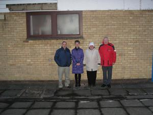 Concerned for Belvoir Library's future: Cllr Hughes (second right) with (l-r) Brian Dunwoody, Belvoir Park Primary School classroom assistant Olive Moore and BCA chair Kirk Graham
