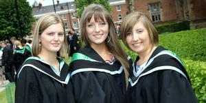 Queen's University Belfast graduations. Claire Pogue, Natalie Hodgen and Rachel McIlwrath who all graduated in Maths, Statistics and Operational Research
