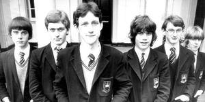 Lembit Öpik, Liberal Democrats, as a schoolboy. Pictured in 1982 along with other Inst National Essay Winners. He attended Royal Belfast Academical Institution (1976-83).