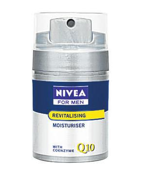 <b>Nivea Revitalising Moisturiser Q10</b><br/>  Nivea's moisturiser contains double the concentrate of the skin's own coenzyme Q10, which helps in the skin's natural renewal process.<br/>  <b>Where</b> Nivea for Men (www.nivea.co.uk) <br/>  <b>How much </b>£11.59 (50ml)