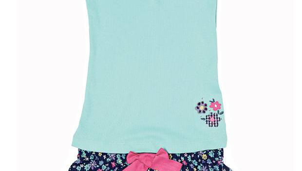 <b>9. Autograph</b>  £11, marksandspencer.com  This M&S set comprises a scoop-neck sleeveless top with button fastening and ribbed detail, with floral print shorts that have a contrast bow feature and frill trim.