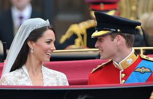 Their Royal Highnesses Prince William, Duke of Cambridge and Catherine, Duchess of Cambridge prepare to begin their journey by carriage procession to Buckingham Palace following their marriage at Westminster Abbey on April 29, 2011 in London, England. The marriage of the second in line to the British throne was led by the Archbishop of Canterbury and was attended by 1900 guests, including foreign Royal family members and heads of state.