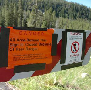 A sign at the entrance of the Soda Butte camp site after the bear attack