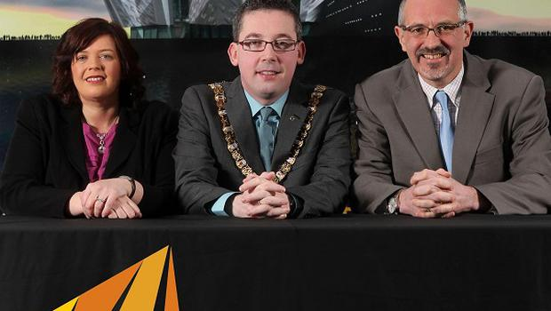 Tim Husbands, CEO of Titanic Belfast (right), Lord Mayor of Belfast, Niall O Donnghaile, and Cathy McCorry, managing director of Grafton Recruitment (Press Eye/PA)