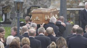 Mourners at the funeral of Paul Doherty follow his coffin to St Mary's Church in Clonmany, Co Donegal.