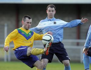 Stephen Hughes - Newry City (left) The man they call 'Engine' has really helped drive Newry City forward this season, as they landed second place in the ever-competitive Belfast Telegraph Championship One. Hughes has weighed in with a number of crucial goals and it's no surprise he is now attracting the attention of Premiership clubs.