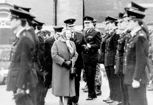 PM Margaret Thatcher meets the RUC on a one day visit to Ulster 23/12/1986