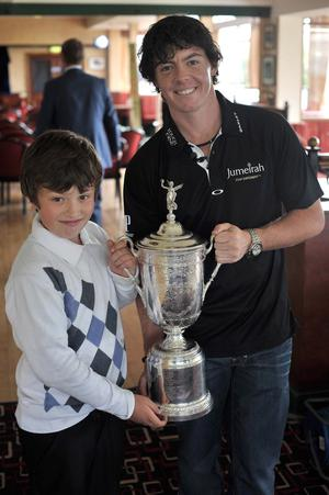 US Open Champion 2011 Rory McIlroy back at Hollywood Golf Club. Rory with his nephew Fergus
