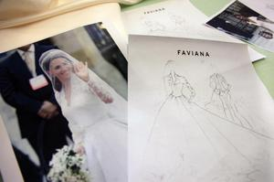 In a April 29, 2011 photo, a sketch and a photo of the royal wedding gown worn by Kate Middleton is shown at Faviana fashion house in New York. The sketch will be used to create a knockoff design of the popular wedding dress. (AP Photo/Bebeto Matthews)