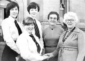 A public speaking team from Ballymena Academy from left: Alison Cunningham, Julie Edgar and Dawn Alexander, who won the Londonderry Business and Professional Women's Club annual public speaking competition held in Magee University College, being congratulated by Miss Angus Clarke, president of the club. Included is Miss Heaster Sterritt, competition organiser. The team will now go forward to the Northern Ireland divisional finals in Belfast, 1980.