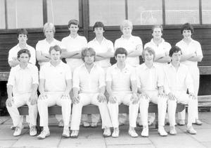 Ballymena Academy First XI cricket team. Back row from left: L. Bell, B. McKendry, D. Beattie, J. Colwell, G. McKendry, B. Rhodes and D. Gibson. Front row: D. Harkin, C. Dick A. McKee, J. Ireland (captain), A. Finlay and A. Smith, 1983.