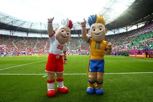 WROCLAW, POLAND - JUNE 12:  Euro 2012 mascots Slavek and Slavko pose ahead during the UEFA EURO 2012 group A match between Greece and Czech Republic at The Municipal Stadium on June 12, 2012 in Wroclaw, Poland.  (Photo by Christof Koepsel/Getty Images)