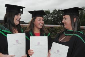 Sarah Clarke from Armagh, Nicola Moore, from Armagh and Shauna McAuley who all graduated from the University of Ulster at Coleraine with BSc (Hons) Psychology. PIcture Martin McKeown. Inpresspics.com. 27.6.11