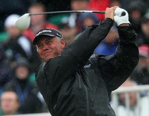Northern Ireland's Darren Clarke tees off during round three of the 2011 Open Championship at Royal St George's, Sandwich