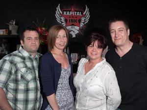 Raymond Bird, Donna Daville, Marijka Downey and Gordon Rea at the opening of Kapital Ink tattoo studios in Lisburn