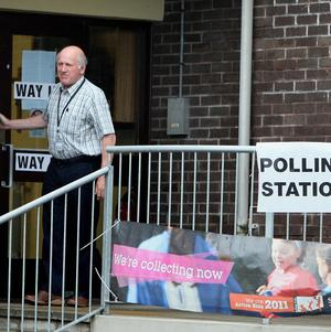 Voters outside a polling station in Carnlough, Co Antrim