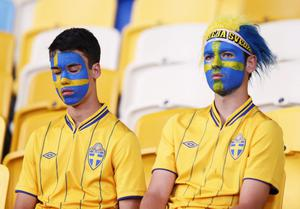 KIEV, UKRAINE - JUNE 15:  Sweden fans look dejected during the UEFA EURO 2012 group D match between Sweden and England at The Olympic Stadium on June 15, 2012 in Kiev, Ukraine.  (Photo by Scott Heavey/Getty Images)
