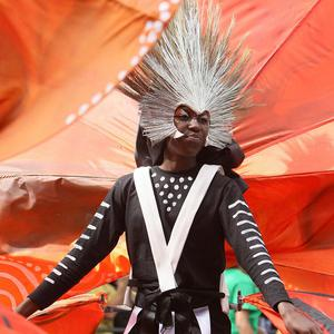 A dancer in the parade at the annual Notting Hill Carnival