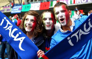 POZNAN, POLAND - JUNE 14:  Italy fans enjoy the pre-match atmopshere during the UEFA EURO 2012 group C match between Italy and Croatia at The Municipal Stadium on June 14, 2012 in Poznan, Poland.  (Photo by Clive Mason/Getty Images)