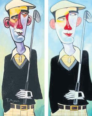 Artist Martin Bradley's painting on the right  bears a remarkable resemblance to those of Tim Rogerson's on the left