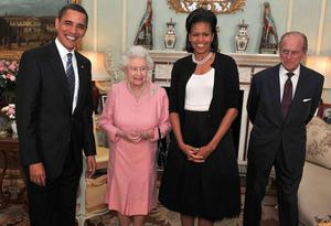 US President Barack Obama and his wife Michelle with the Queen and Prince Philip