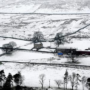 A snow scene in the Teesdale area of the Pennines