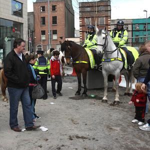 Gardai at at the Smithfield Horse Fair in Dublin