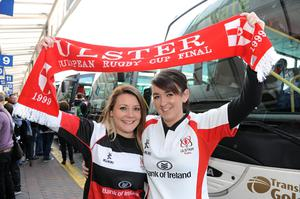 Victoria Gibson and Claire Ogle from Dromore travel to the game on Saturday