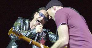 Bono and the Edge, during the first night of  their 360 degree tour in Barcelona