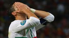 DONETSK, UKRAINE - JUNE 27: Cristiano Ronaldo of Portugal reacts to a missed shot on goal during the UEFA EURO 2012 semi final match between Portugal and Spain at Donbass Arena on June 27, 2012 in Donetsk, Ukraine.  (Photo by Martin Rose/Getty Images)