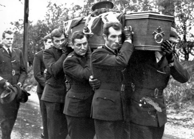 The funeral of RUC man William Russell, shot while investgating a burglary at the  Avoca Shopping Centre, Andersontown, Belfast