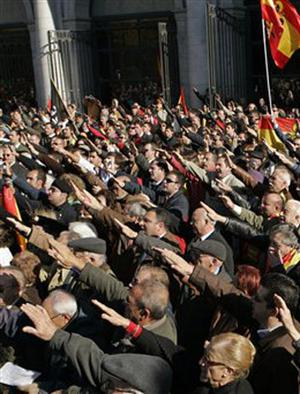 Right-wing demonstrators participate in a fascist political rally in Madrid, Sunday, Nov. 19, 2007 in remembrance of the killing of Jose Antonio Primo de Rivera in 1936 by leftist forces during the Spanish Civil War. Primo de Rivera founded the Falange, the political movement linked with dictator Gen. Francisco Franco Franco's regime which held onto power from 1939-1975 following victory in the civil war.
