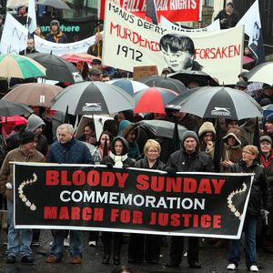 A protest parade in was staged in Londonderry in January to mark the 40th anniversary of Bloody Sunday