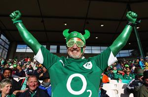 ROTORUA, NEW ZEALAND - SEPTEMBER 25:  An Ireland fan poses prior to the IRB 2011 Rugby World Cup Pool C match between Ireland and Russia at Rotorua International Stadium on September 25, 2011 in Rotorua, New Zealand.  (Photo by Hagen Hopkins/Getty Images)