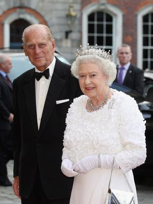 Queen Elizabeth II and Prince Philip, Duke of Edinburgh arrive to attend a State Banquet in Dublin Castle on May 18, 2011 in Dublin, Ireland