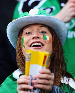 WELLINGTON, NEW ZEALAND - OCTOBER 08:  An Ireland fan enjoys the atmosphere prior to the quarter final one of the 2011 IRB Rugby World Cup between Ireland v Wales at Wellington Regional Stadium on October 8, 2011 in Wellington, New Zealand.  (Photo by Mike Hewitt/Getty Images)