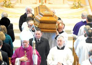 The funeral of Cardinal Cahal Daly at St Peter's Cathedral in west Belfast.