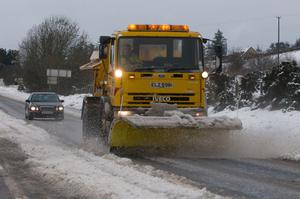 A snow plough on the main Glenshane Road between Derry and Belfast