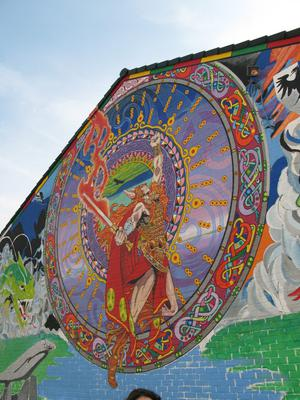 A mural at the top of the Whiterock Road
