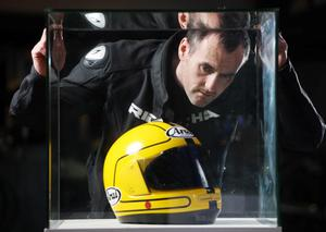 """Richard Mezza, owner of Belfast-based Bici motorbike accessories store and a devoted fan of Joey Dunlop visits the  Ulster Folk and Transport Museum """"King of the Roads"""" exhibition"""