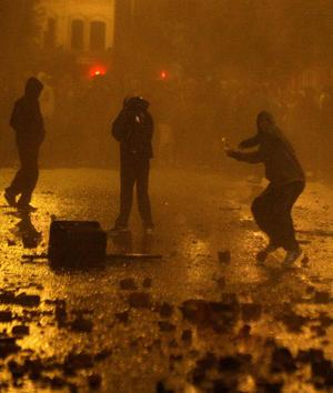 Rioting at Broadway in West Belfast, July 11 2011