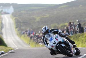 Michael Dunlop on his way to a terrific victory in the second Supersport race at the Isle of Man TT