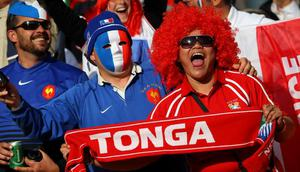 WELLINGTON, NEW ZEALAND - OCTOBER 01:  France and Tonga fans cheer on their teams during the IRB 2011 Rugby World Cup Pool A match between France and Tonga at Wellington Regional Stadium on October 1, 2011 in Wellington, New Zealand.  (Photo by Alex Livesey/Getty Images)