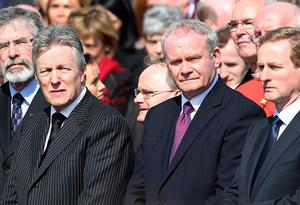 Gerry Adams, Peter Robinson, Martin McGuinness and Enda Kenny at the funeral